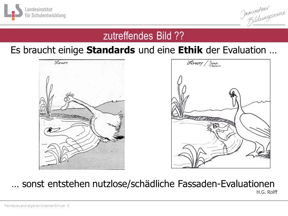 zutreffendes Bild Es braucht einige Standards und eine Ethik der Evaluation … Nutzlose Evaluationen wären eine unverantwortliche Verschwendung.