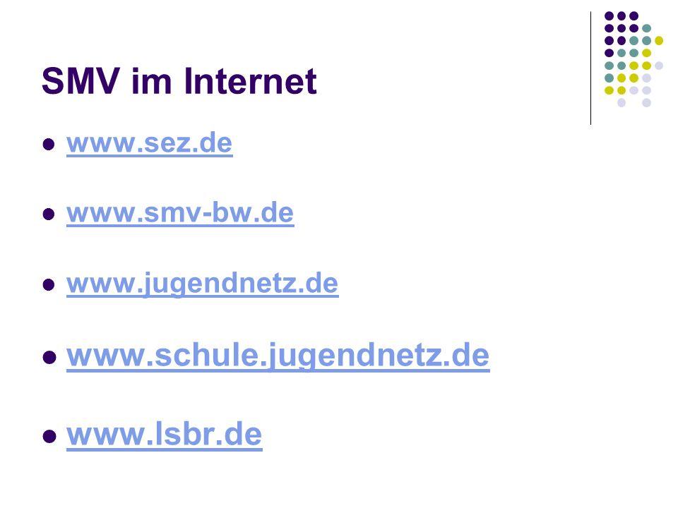 SMV im Internet www.schule.jugendnetz.de www.lsbr.de www.sez.de