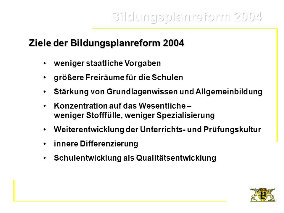 Ziele der Bildungsplanreform 2004