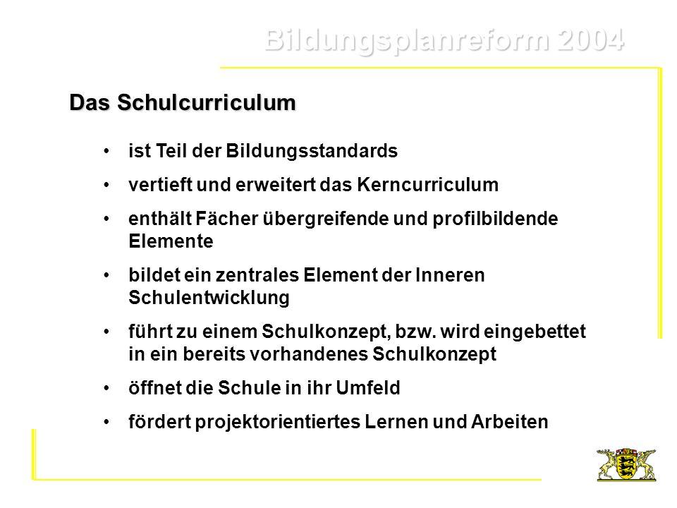 Das Schulcurriculum ist Teil der Bildungsstandards