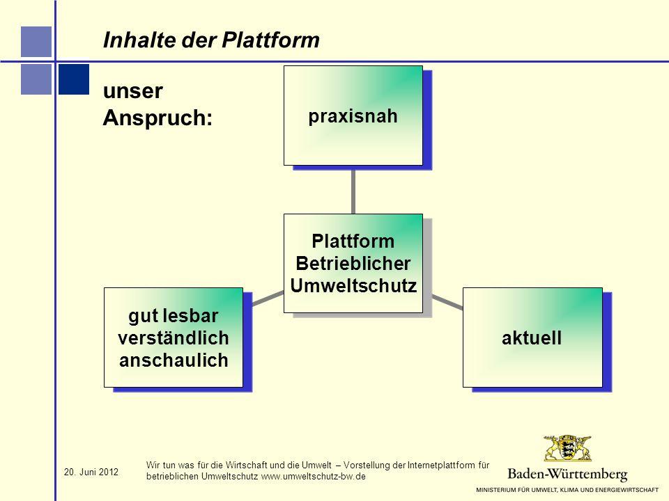 Inhalte der Plattform unser Anspruch: