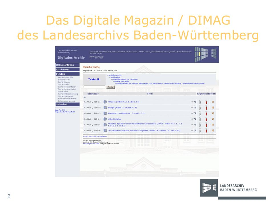 Das Digitale Magazin / DIMAG des Landesarchivs Baden-Württemberg
