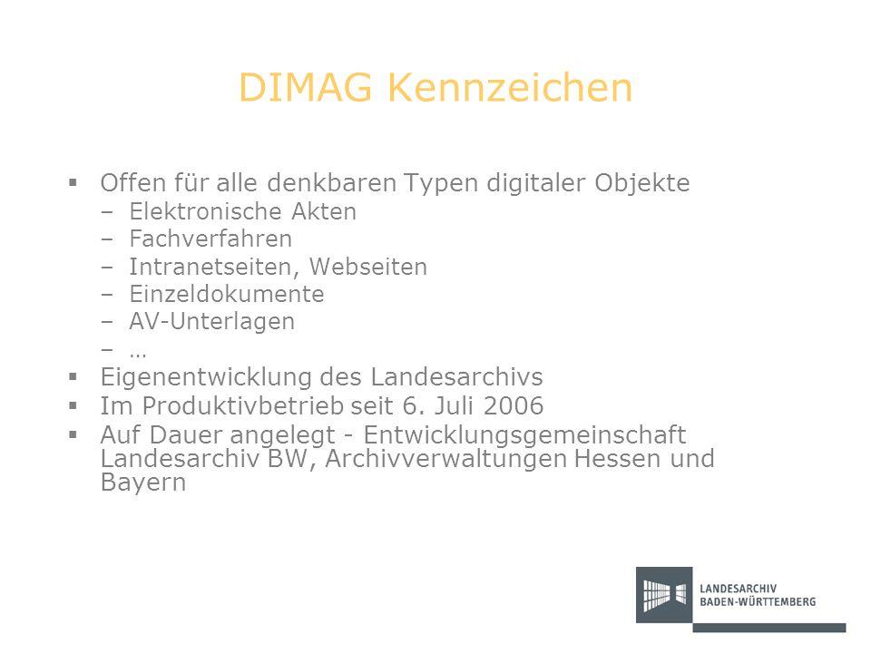 DIMAG Kennzeichen Offen für alle denkbaren Typen digitaler Objekte