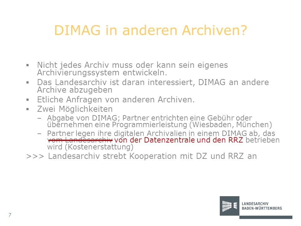 DIMAG in anderen Archiven