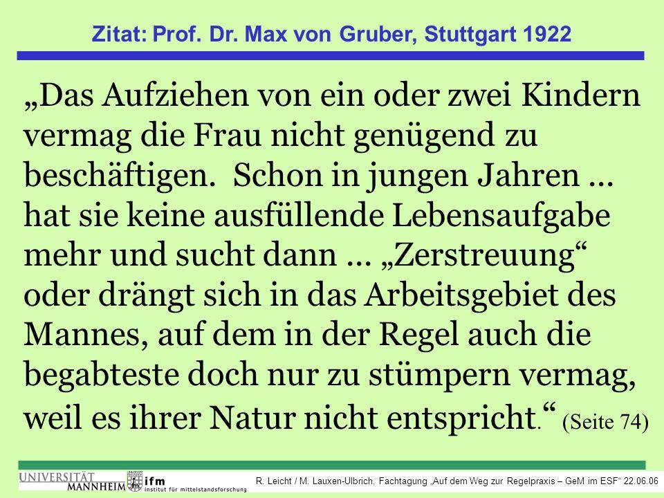 Zitat: Prof. Dr. Max von Gruber, Stuttgart 1922