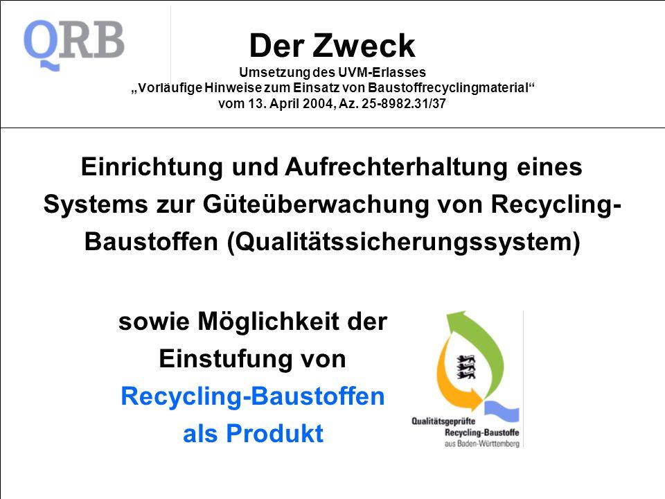 sowie Möglichkeit der Einstufung von Recycling-Baustoffen als Produkt