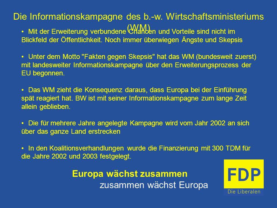 Die Informationskampagne des b.-w. Wirtschaftsministeriums (WM)