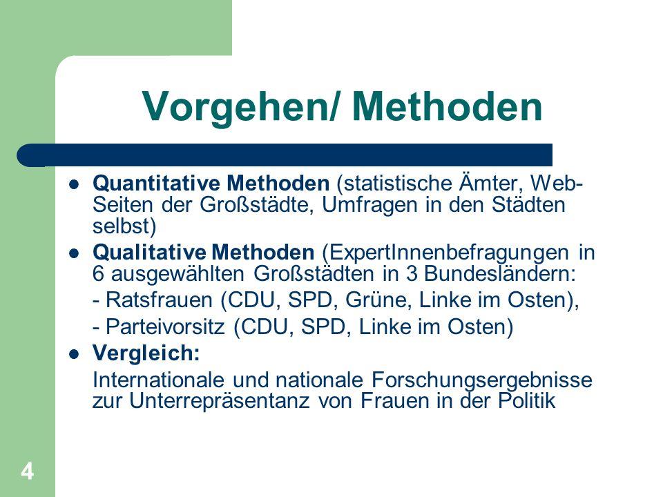 Vorgehen/ Methoden Quantitative Methoden (statistische Ämter, Web-Seiten der Großstädte, Umfragen in den Städten selbst)