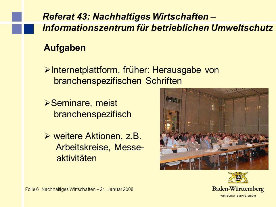 Referat 43: Nachhaltiges Wirtschaften –