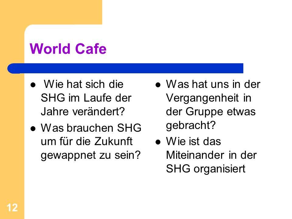 World Cafe Wie hat sich die SHG im Laufe der Jahre verändert