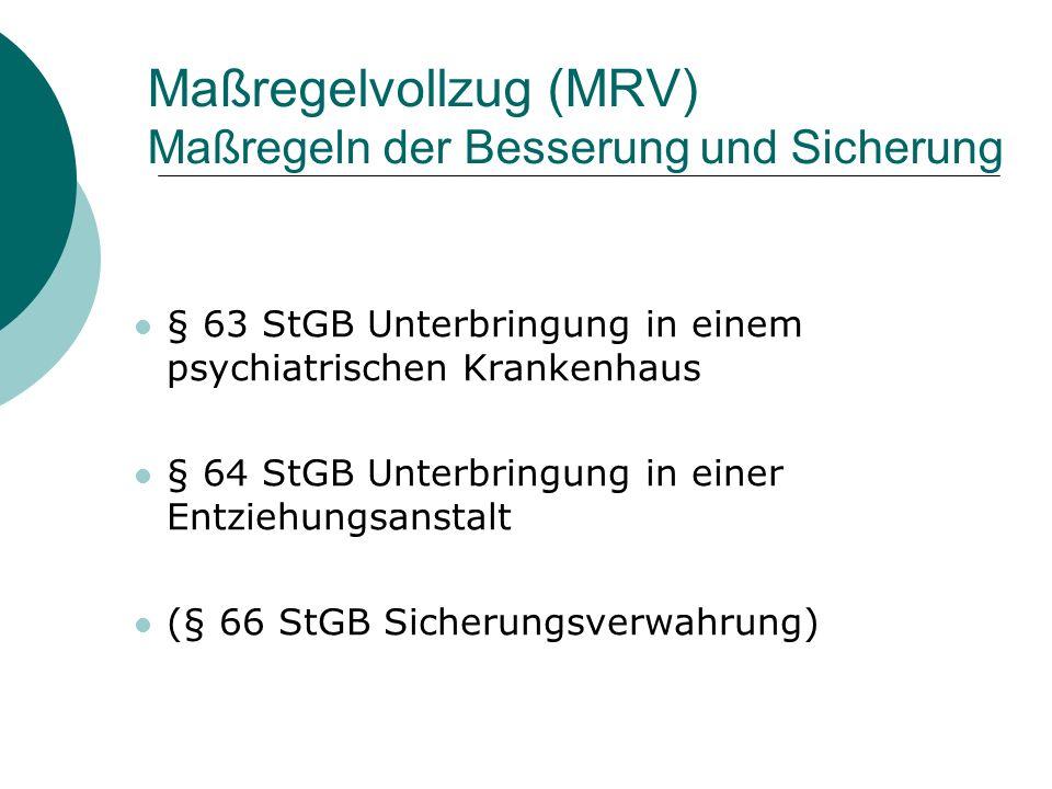 Maßregelvollzug (MRV) Maßregeln der Besserung und Sicherung