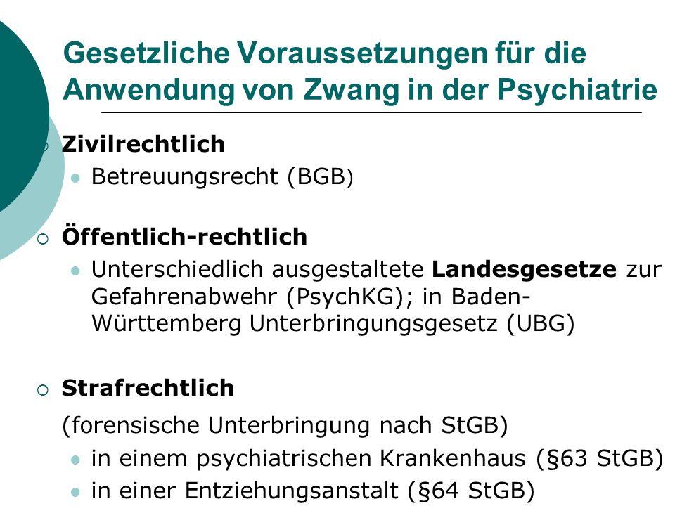 Gesetzliche Voraussetzungen für die Anwendung von Zwang in der Psychiatrie