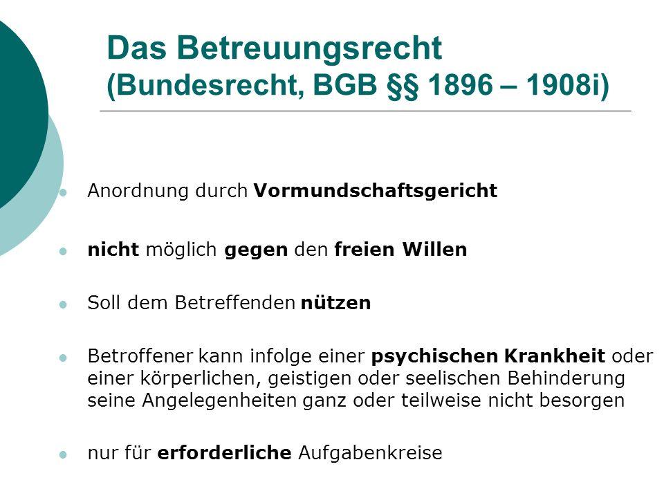Das Betreuungsrecht (Bundesrecht, BGB §§ 1896 – 1908i)