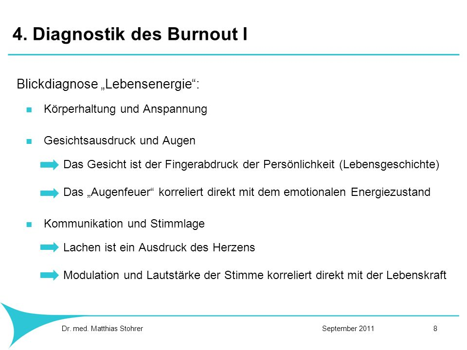 4. Diagnostik des Burnout I