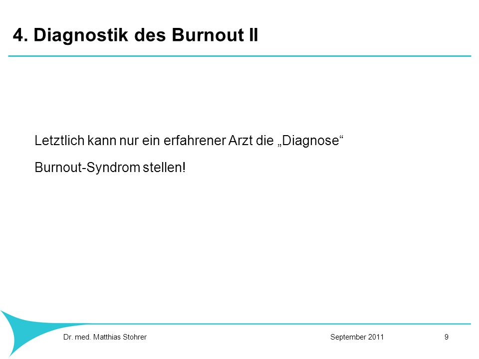 4. Diagnostik des Burnout II