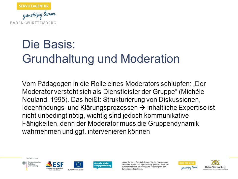 """Die Basis: Grundhaltung und Moderation Vom Pädagogen in die Rolle eines Moderators schlüpfen: """"Der Moderator versteht sich als Dienstleister der Gruppe (Michéle Neuland, 1995)."""
