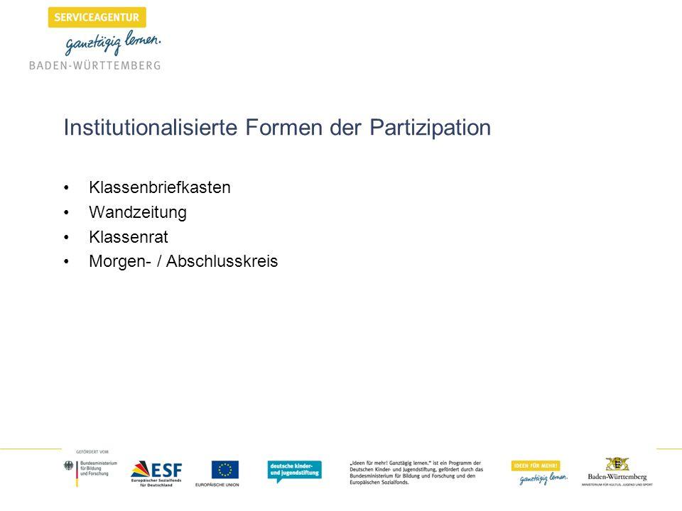Institutionalisierte Formen der Partizipation