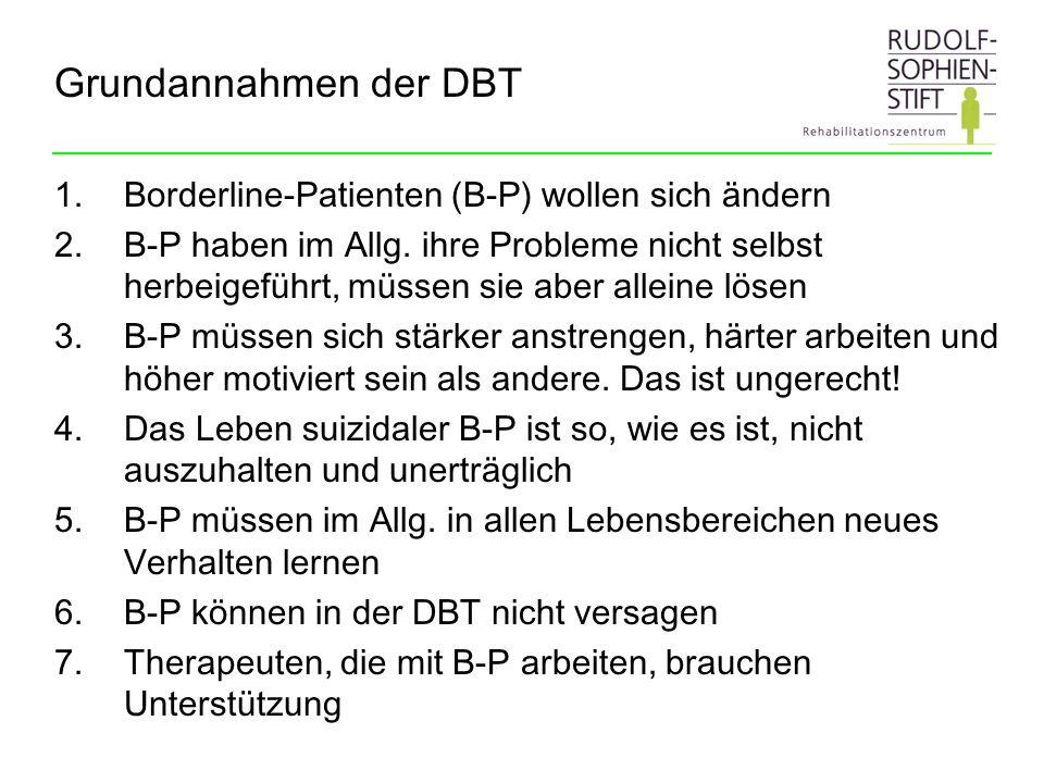 Grundannahmen der DBT Borderline-Patienten (B-P) wollen sich ändern