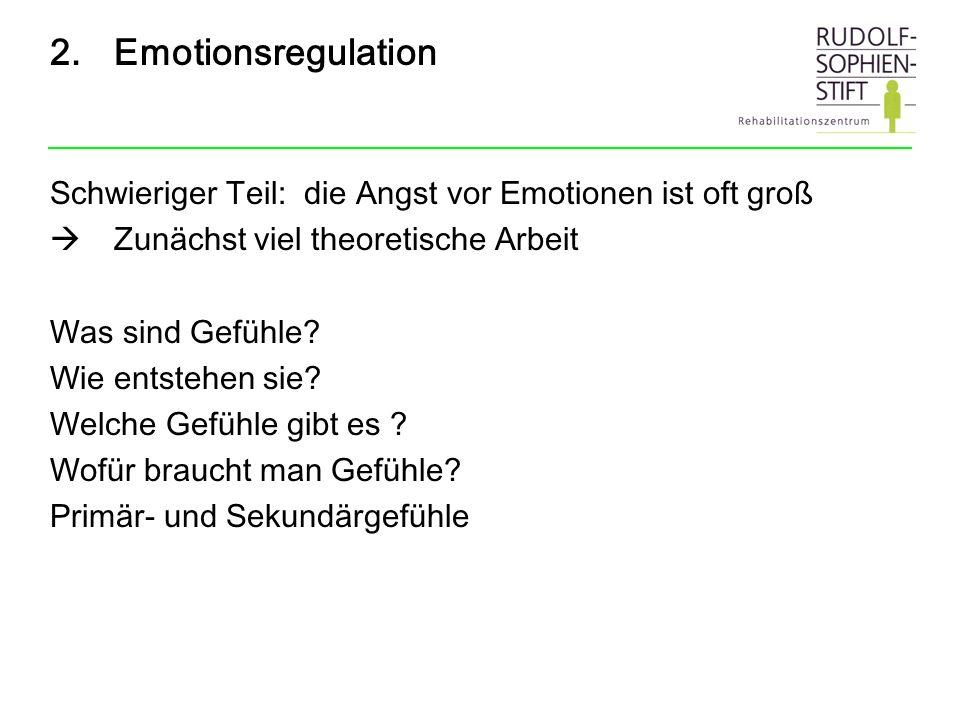 Emotionsregulation Schwieriger Teil: die Angst vor Emotionen ist oft groß. Zunächst viel theoretische Arbeit.