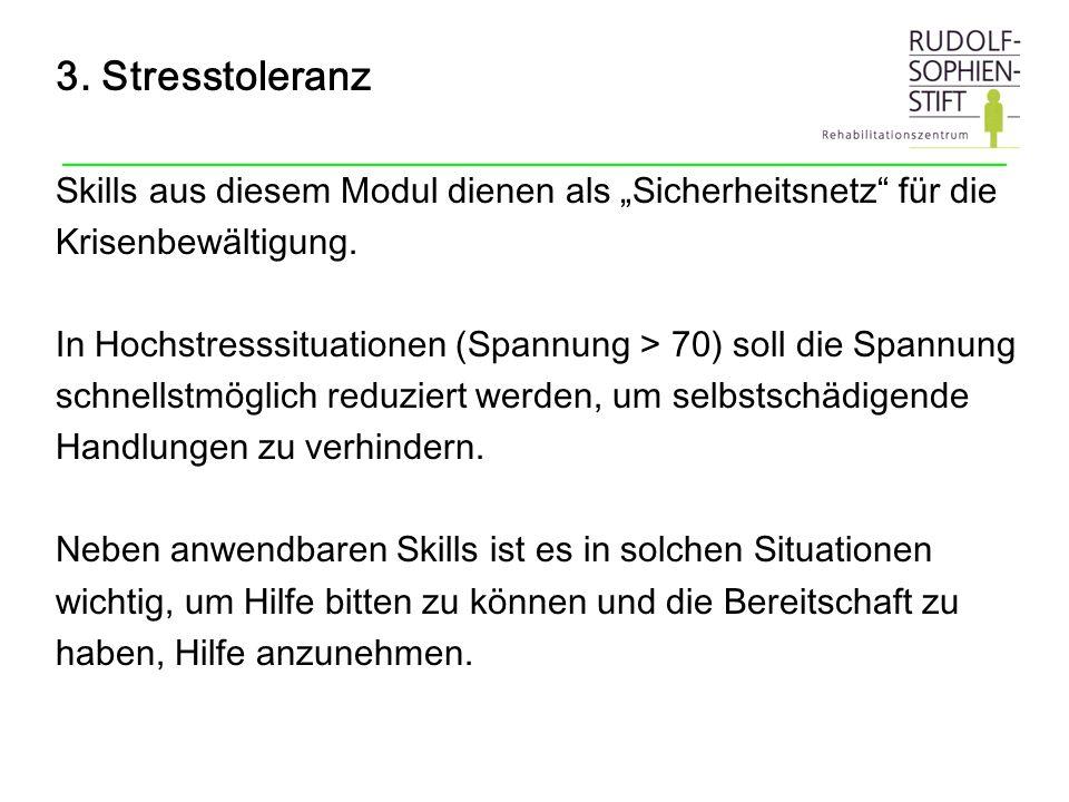 """3. Stresstoleranz Skills aus diesem Modul dienen als """"Sicherheitsnetz für die. Krisenbewältigung."""