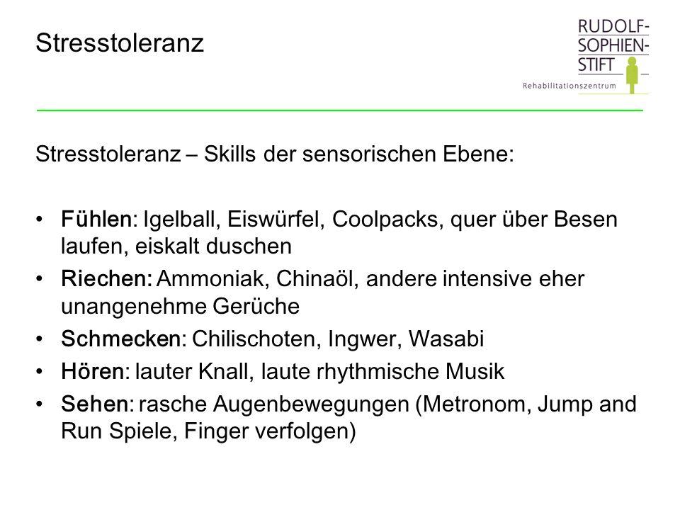 Stresstoleranz Stresstoleranz – Skills der sensorischen Ebene: