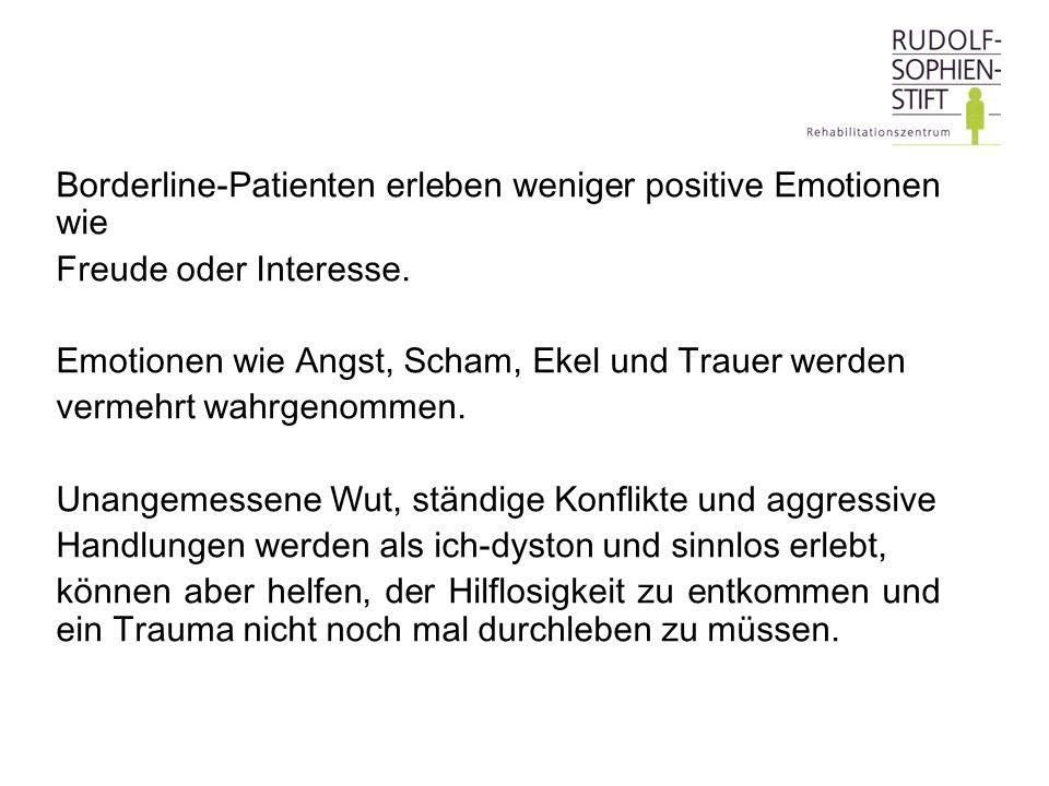 Borderline-Patienten erleben weniger positive Emotionen wie