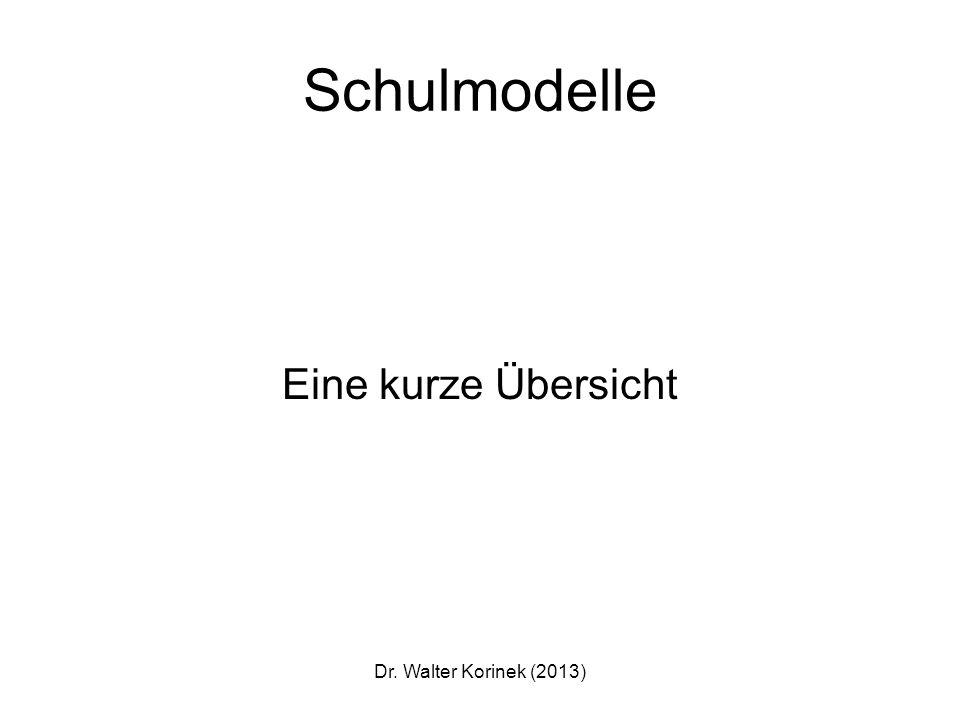 Schulmodelle Eine kurze Übersicht Dr. Walter Korinek (2013)