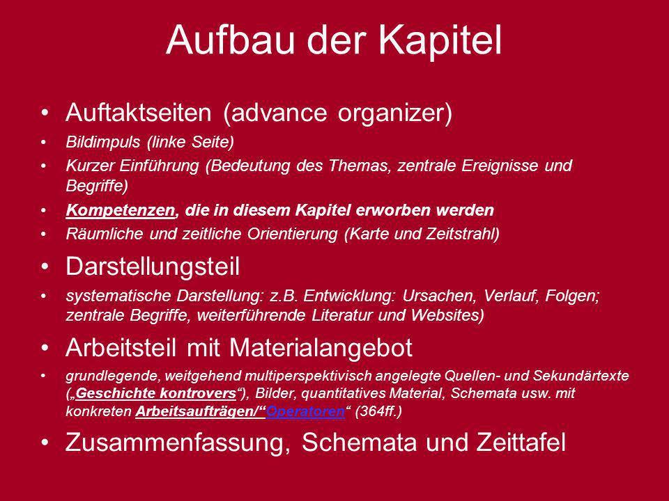 Aufbau der Kapitel Auftaktseiten (advance organizer) Darstellungsteil
