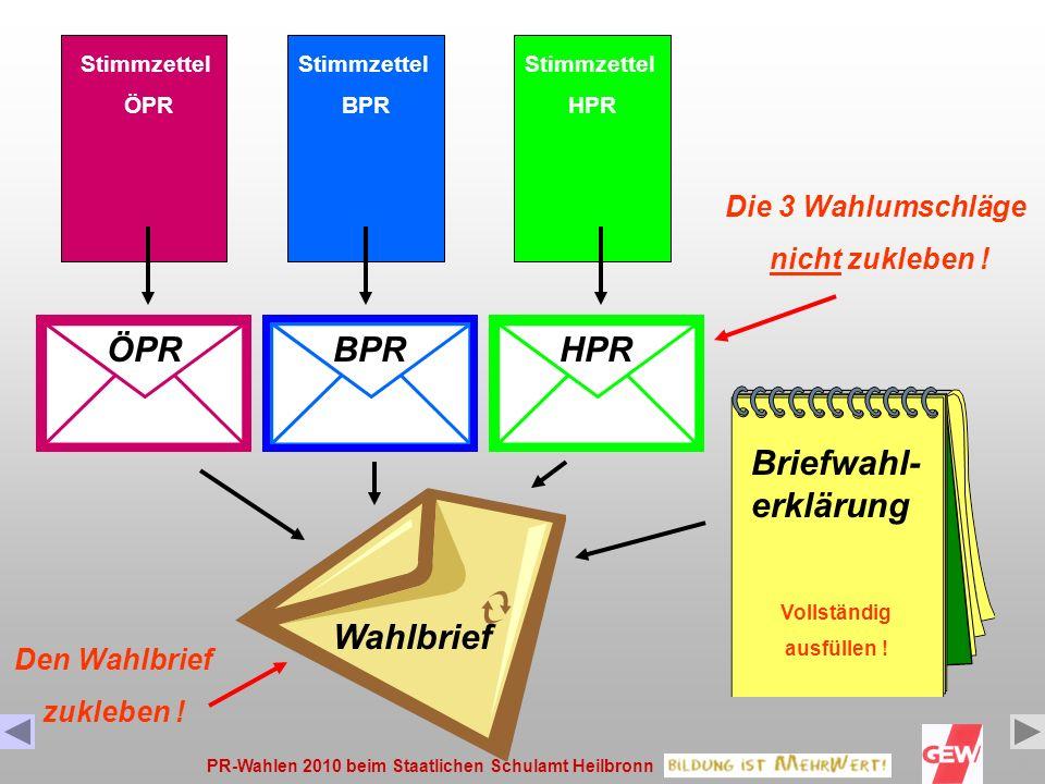 ÖPR BPR HPR Briefwahl-erklärung Wahlbrief Die 3 Wahlumschläge