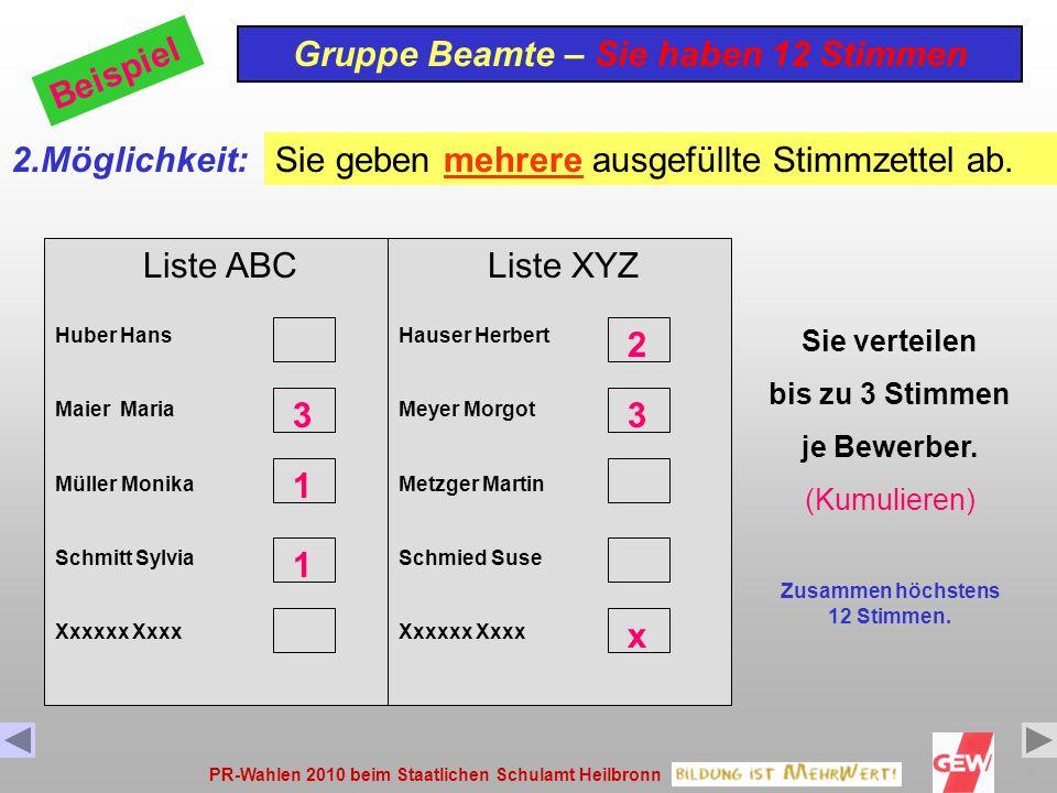 Gruppe Beamte – Sie haben 12 Stimmen Zusammen höchstens 12 Stimmen.