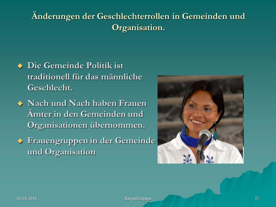 Änderungen der Geschlechterrollen in Gemeinden und Organisation.