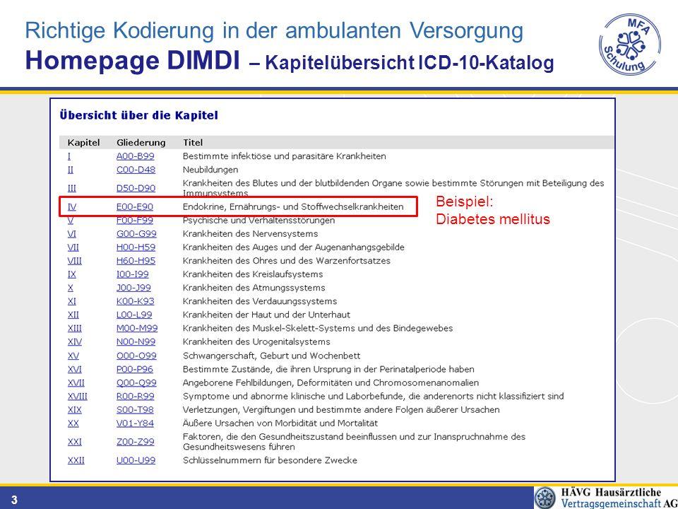 Homepage DIMDI – Kapitelübersicht ICD-10-Katalog