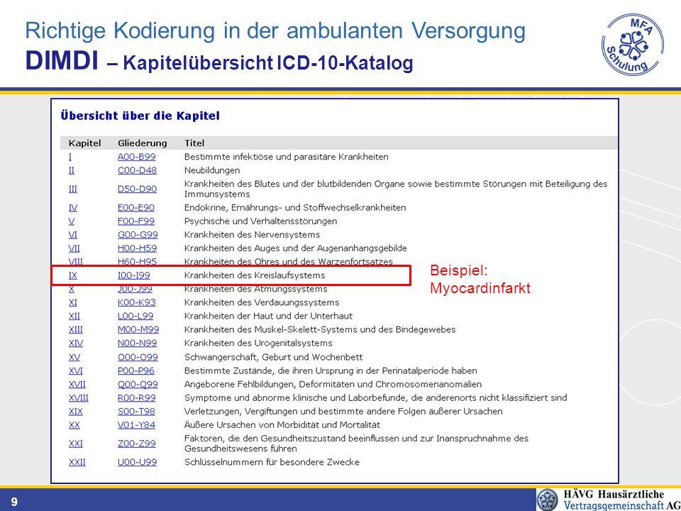 DIMDI – Kapitelübersicht ICD-10-Katalog