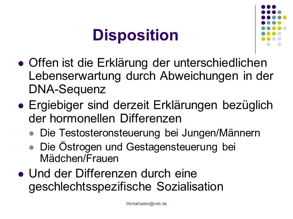 Disposition Offen ist die Erklärung der unterschiedlichen Lebenserwartung durch Abweichungen in der DNA-Sequenz.