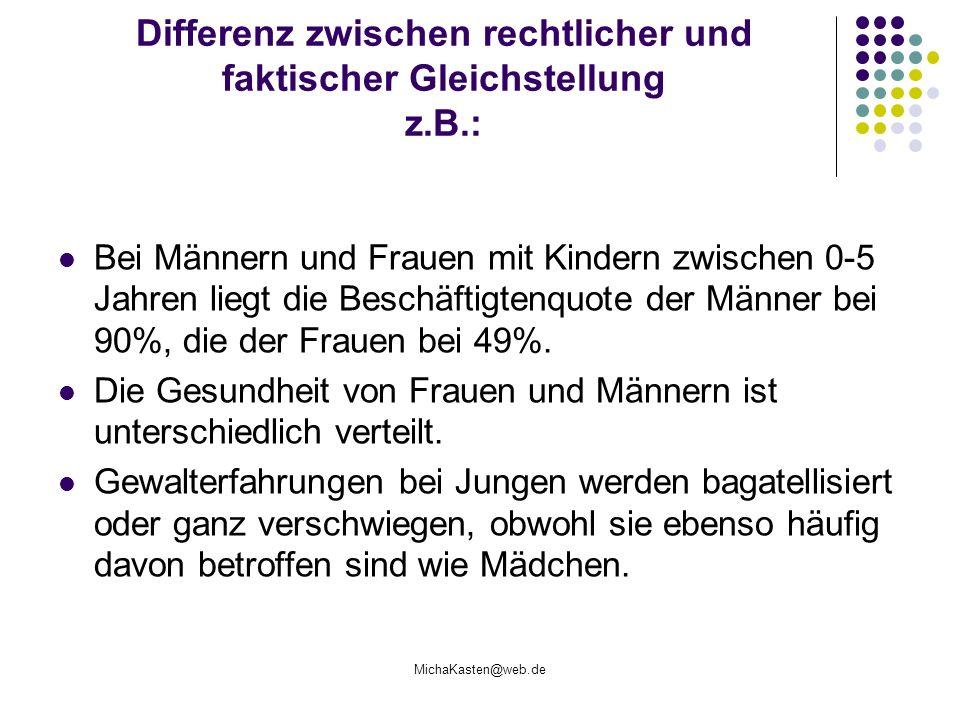 Differenz zwischen rechtlicher und faktischer Gleichstellung z.B.: