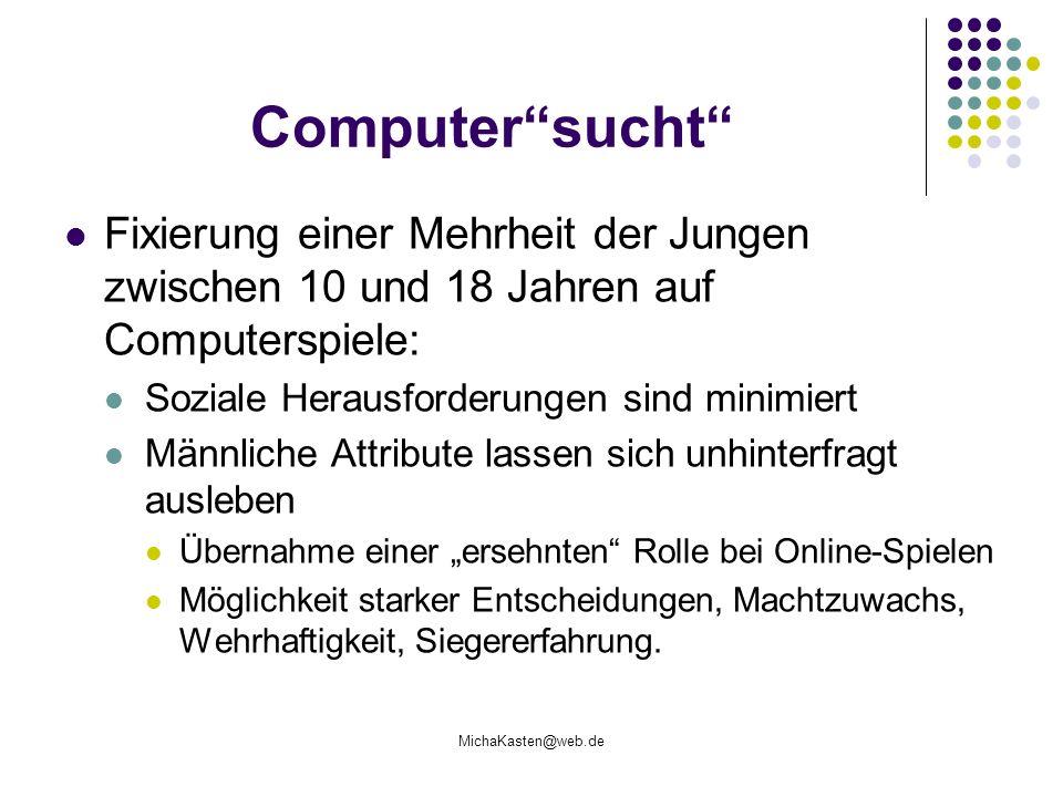 Computer sucht Fixierung einer Mehrheit der Jungen zwischen 10 und 18 Jahren auf Computerspiele: Soziale Herausforderungen sind minimiert.