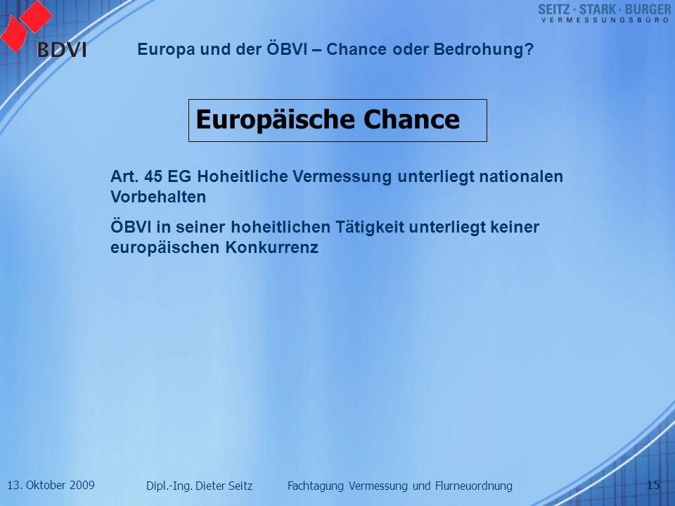 Europäische Chance Art. 45 EG Hoheitliche Vermessung unterliegt nationalen Vorbehalten.