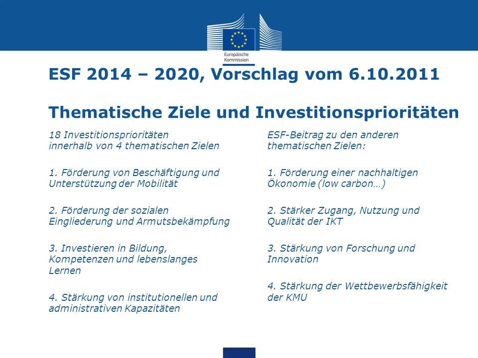 ESF 2014 – 2020, Vorschlag vom 6.10.2011 Thematische Ziele und Investitionsprioritäten
