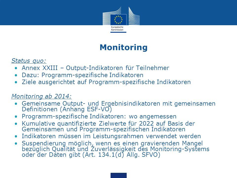 Monitoring Status quo: Annex XXIII – Output-Indikatoren für Teilnehmer