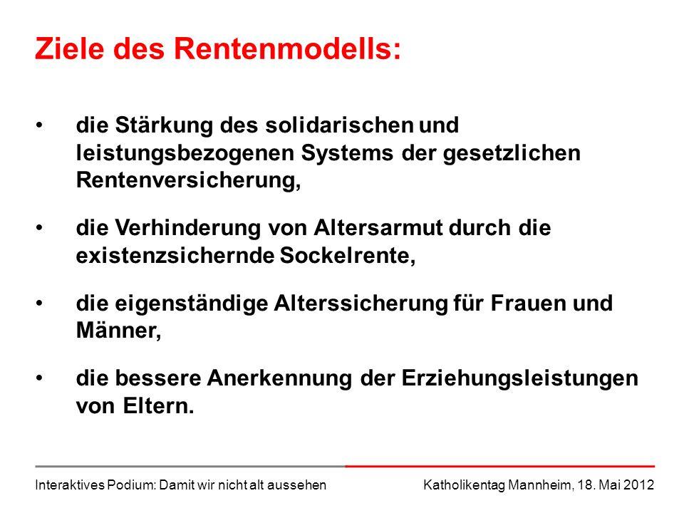 Ziele des Rentenmodells: