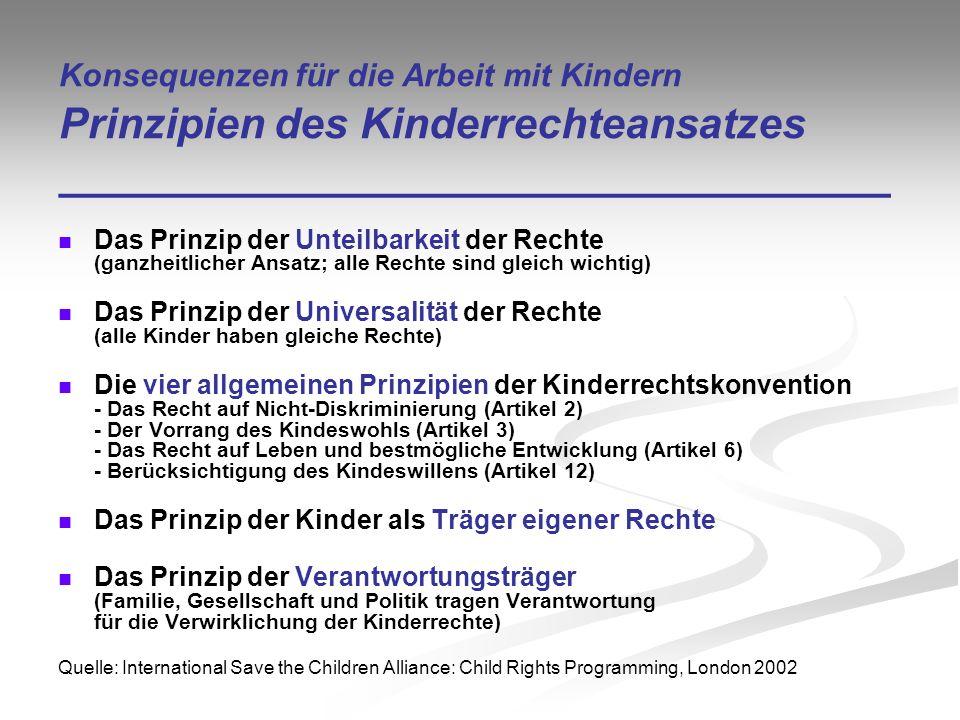 Konsequenzen für die Arbeit mit Kindern Prinzipien des Kinderrechteansatzes ___________________________________