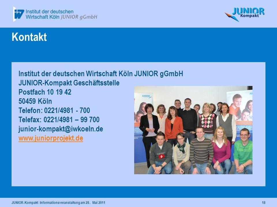Kontakt Institut der deutschen Wirtschaft Köln JUNIOR gGmbH