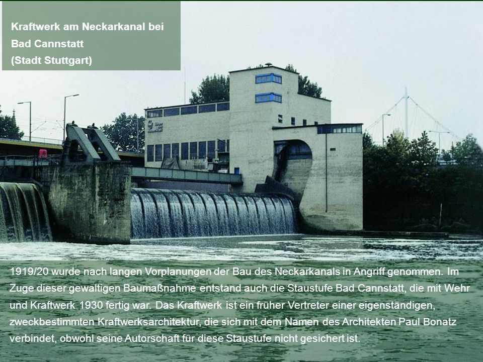 Kraftwerk am Neckarkanal bei Bad Cannstatt