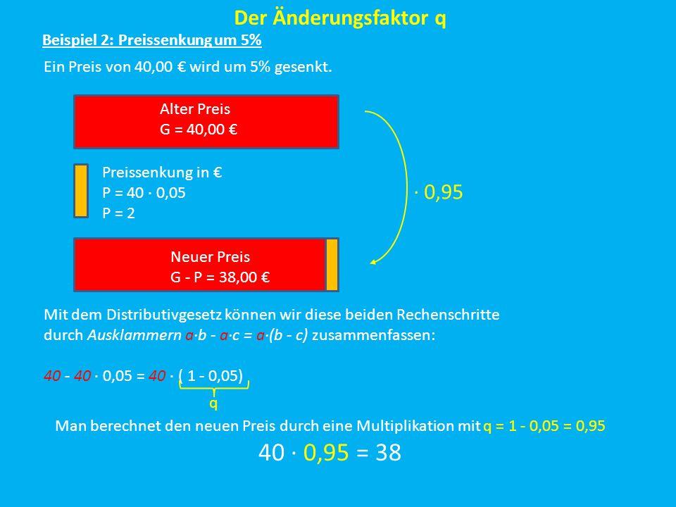 40 ∙ 0,95 = 38 Der Änderungsfaktor q ∙ 0,95