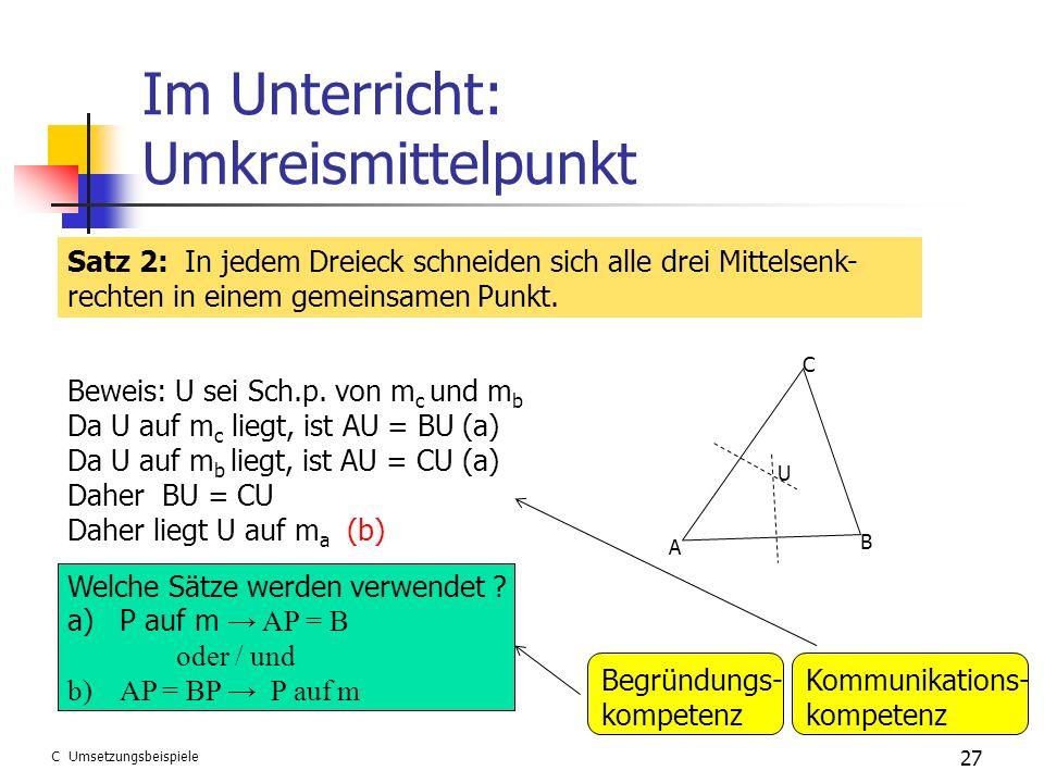 Im Unterricht: Umkreismittelpunkt