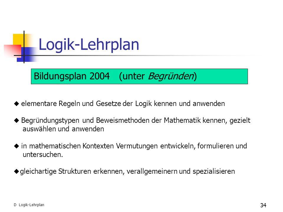 Logik-Lehrplan Bildungsplan 2004 (unter Begründen)