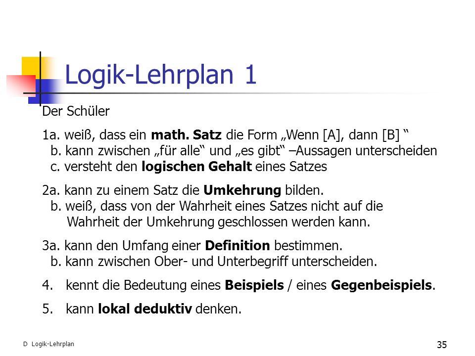 Logik-Lehrplan 1 Der Schüler