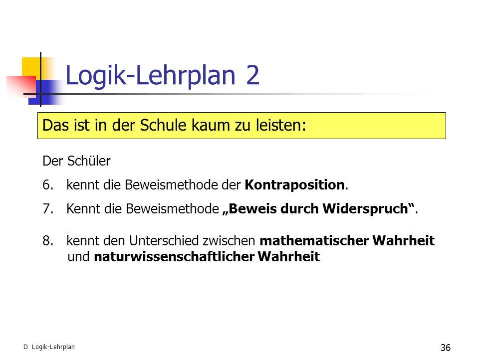 Logik-Lehrplan 2 Das ist in der Schule kaum zu leisten: Der Schüler