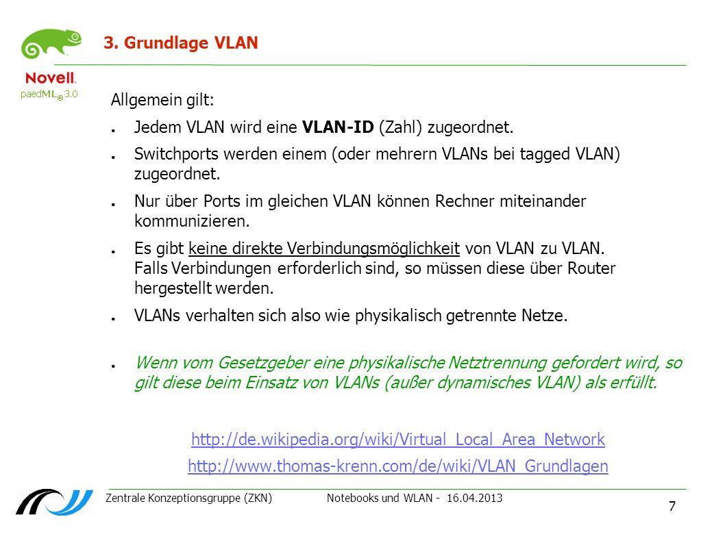 Jedem VLAN wird eine VLAN-ID (Zahl) zugeordnet.