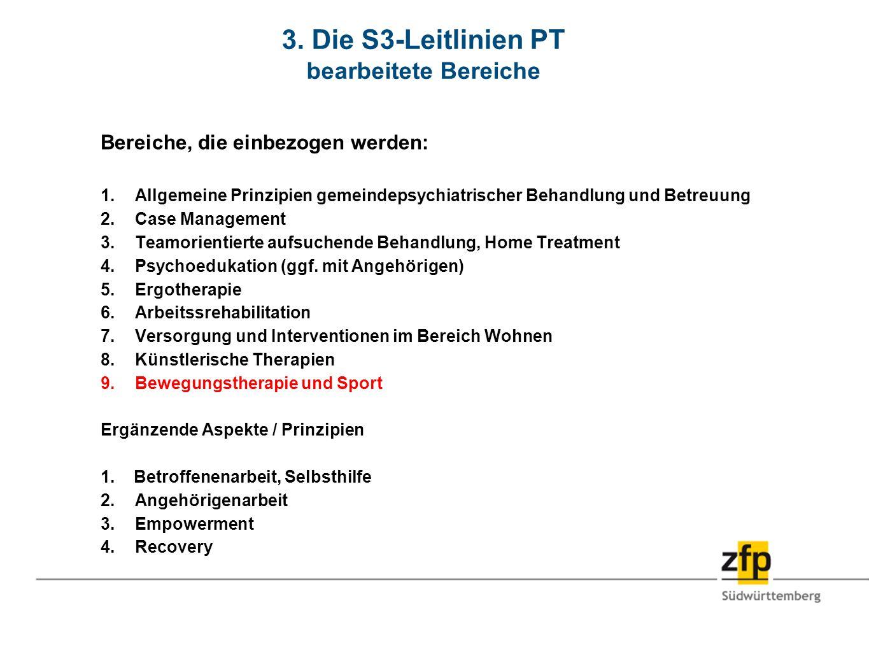3. Die S3-Leitlinien PT bearbeitete Bereiche